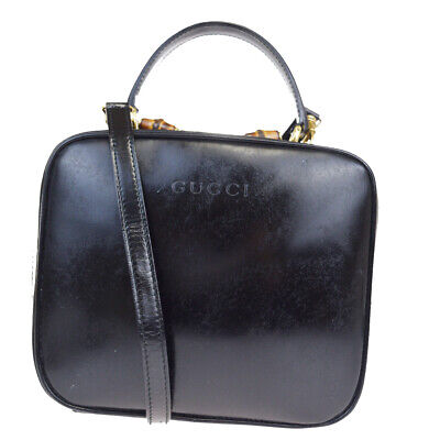 Authentic GUCCI Logos Bamboo Vanity Shoulder Hand Bag Patent Leather BK 08MA293