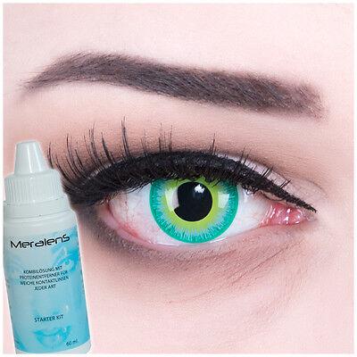 Farbige Green Elf Kontaktlinsen grün crazy Halloween Fasching + Komplettset
