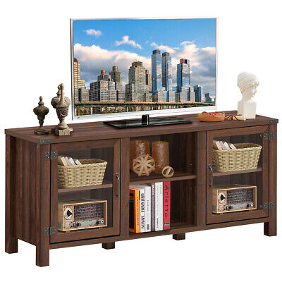 """TV Stand Entertainment Center for TV's up to 65"""" with Storage Cabinets Walnut"""