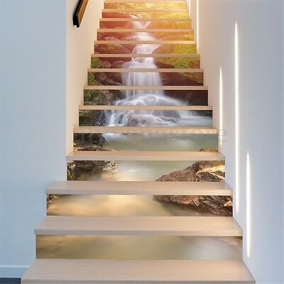 13Pcs 3D Sunshine Waterfall Stair Risers Decor Mural Decal Wallpaper Sticker DIY
