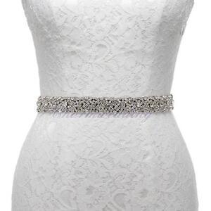 Black Satin Wedding Sash with Rhinestones Bridesmaid Dress Belt for Women Ladies