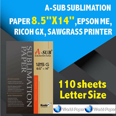 A-sub Sublimation Paper 8.5x14110 Sheet Epson Mericoh Gxsawgrass