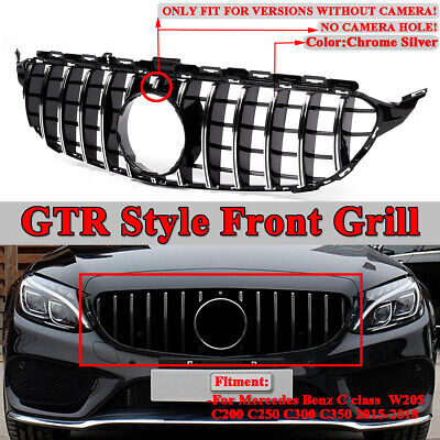 For Mercedes Benz C Class W205 C200 C250 15-18 AMG GTR Style Front Grille Grill