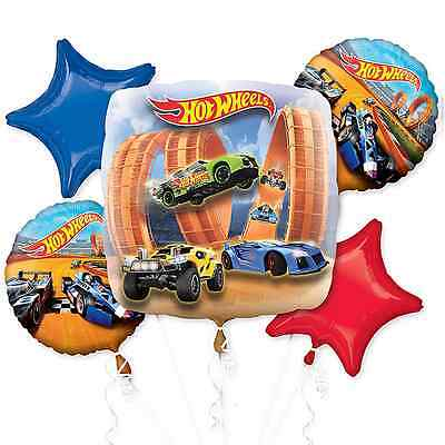 Hot Wheels Wild Racer Foil Balloon Bouquet Birthday Decoration Party Supplies - Hot Wheels Birthday Decorations
