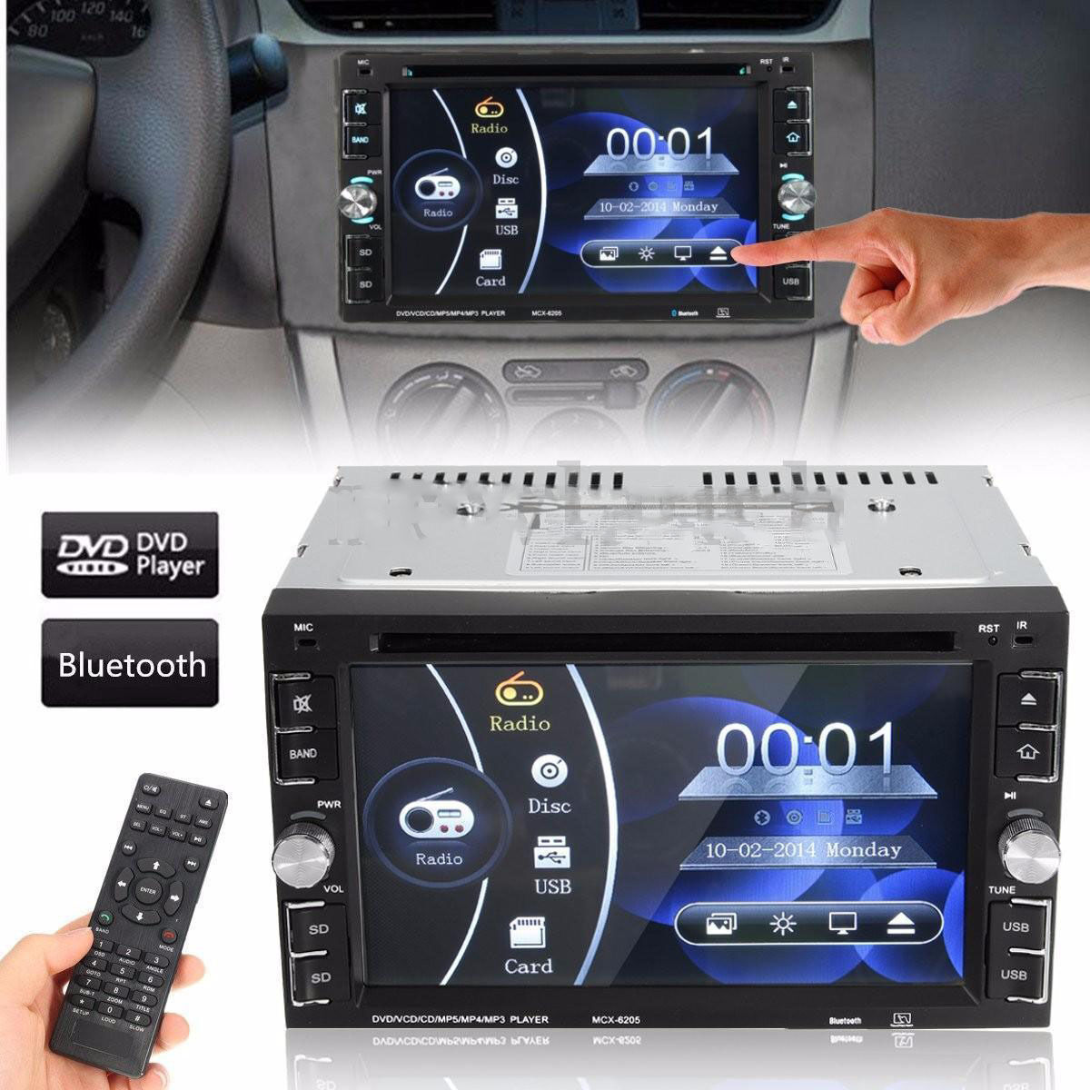 $66.75 - 6.2'' HD Touch Screen Double 2DIN Car Stereo DVD CD MP3 Player Bluetooth Radio R