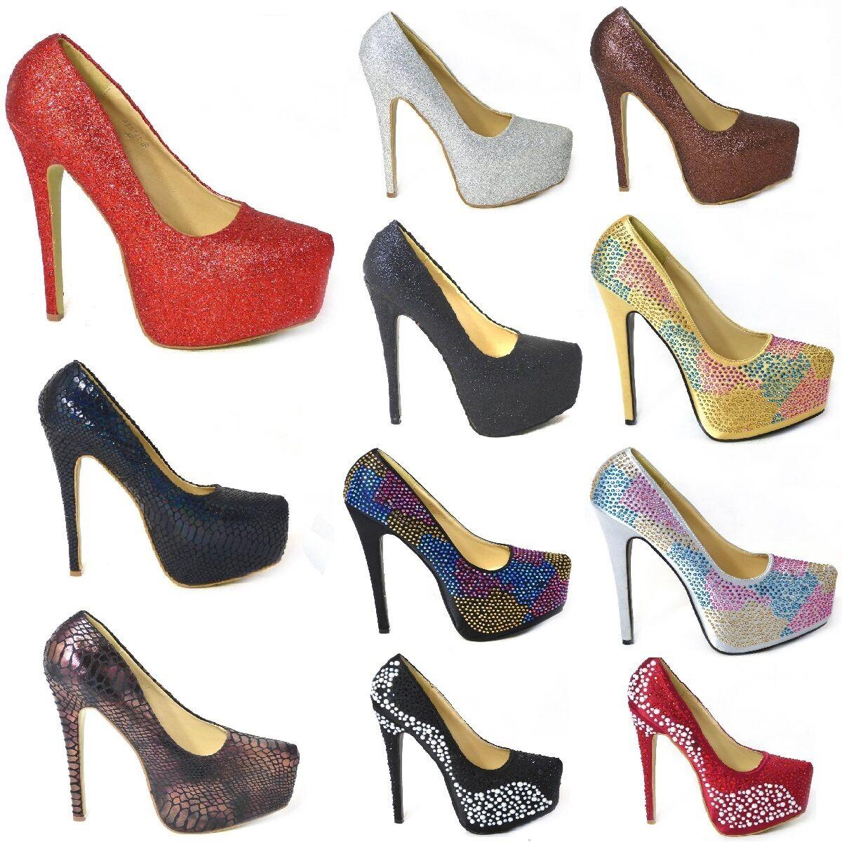 Plate-forme Dissimulée et Talon Aiguille Court Party Chaussures Femme Taille