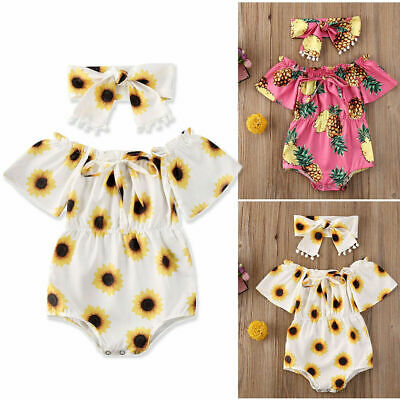 Toddler Baby Girl Floral Romper Bodysuit Jumpsuit Summer Clothes Sunsuit 0-2Y