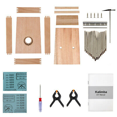 Kmise 17 Keys Kalimba DIY Kit Musical Instrument Manual Tools Hammer for Gifts