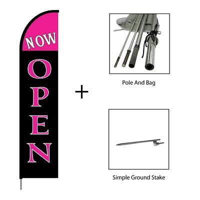 Now Open Feather Flag Banner Pole Kit Swooper Advertising Sign 15ft - Pink