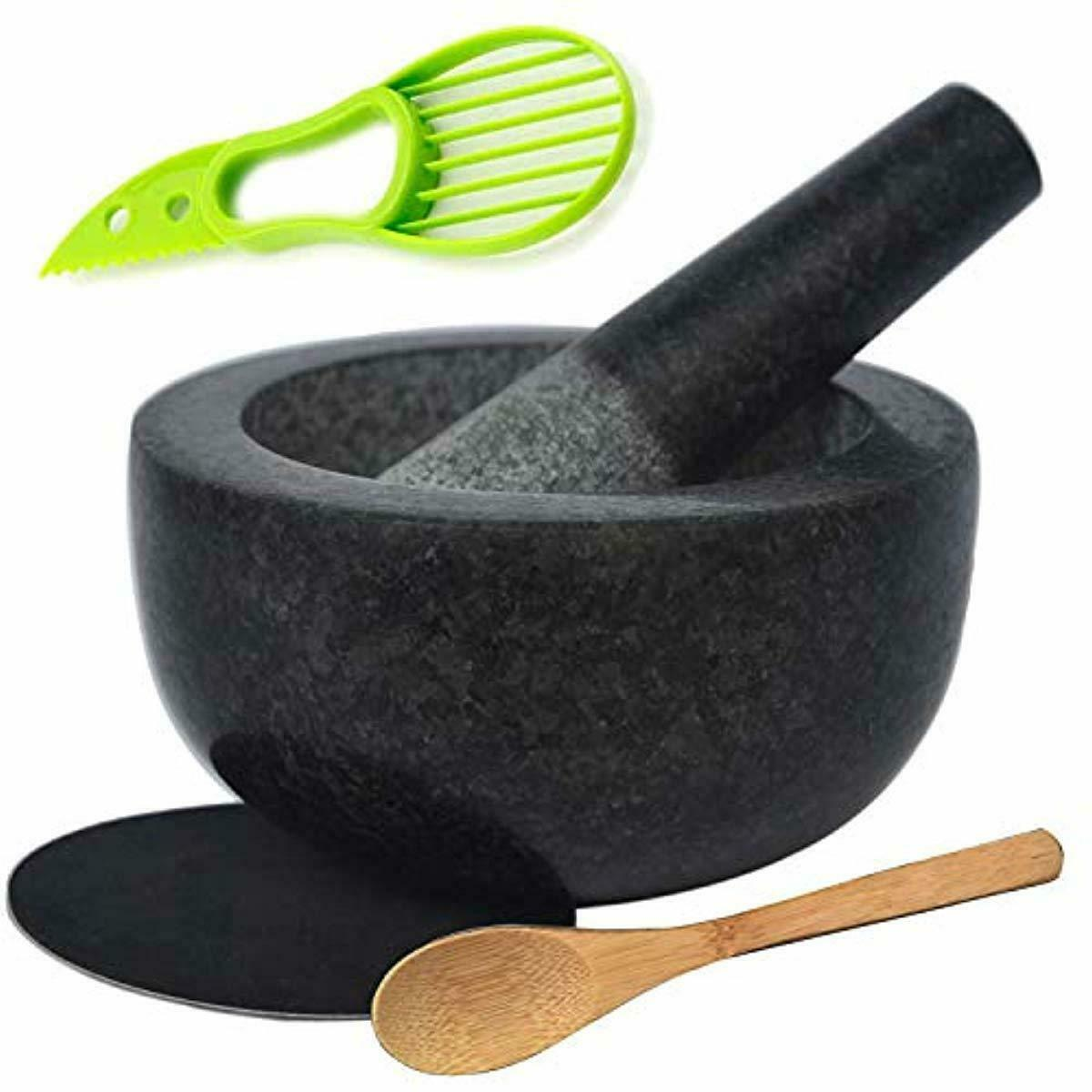 60mm Exceart Glass Mortar and Pestle Set Guacamole Bowl for Spices Seasonings Pastes Herbs Pestos