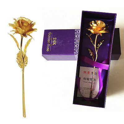 "10""24K Gold Dipped Rose Flower for Wedding Home Decor Anniversary Birthday Gift"