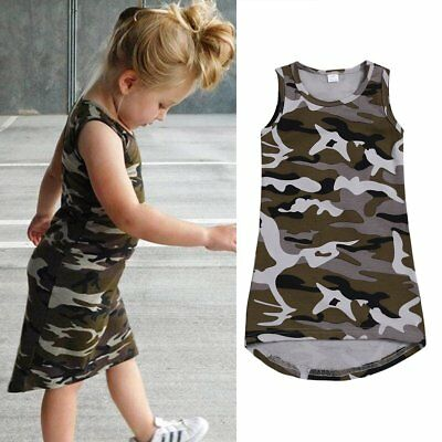 Summer Toddler Kids Baby Girl Camouflage Casual Party Pageant Princess Dresses (Casual Girl Dresses)