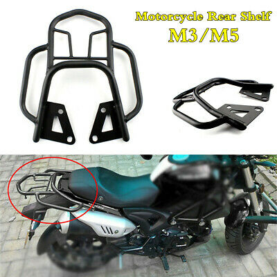 Motorcycle Seat Extension Rear Shelf Luggage Rack Holder Bracket Black w/Armrest