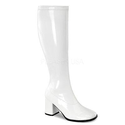 Wide Calf Go Go Boots (Sexy WIDE CALF Block Heel Retro Gogo White Costume Knee High Boots)