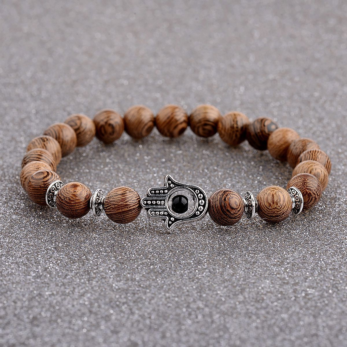 Wooden beads + palm