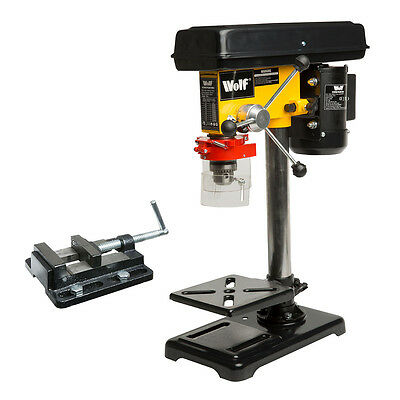 "Wolf Rotary Pillar Drill Press Bench Top Mounted Drilling 9 Speed 16mm 3"" Vice"