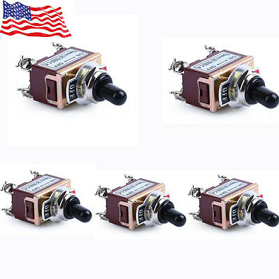 5x Heavy Duty 20a 125v Dpst 4 Terminal Onoff Toggle Switch With Boot Us Stock