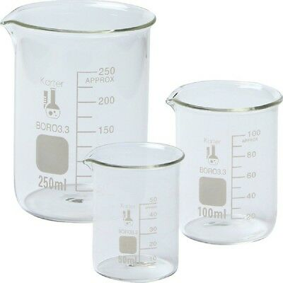 Single 214t2 3.3 Boro Griffin Low Form Glass Beaker Set - 3 Size Extra Large