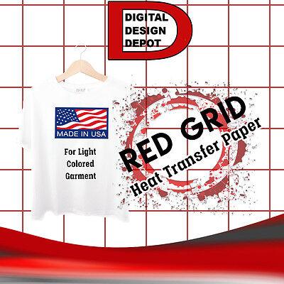 Inkjet Red Grid Heat Transfer Paper Iron On Light T Shirt 50 Sheet 8.5x11