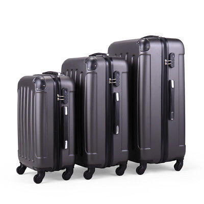BHC 3PCS Luggage Gray Carry On Set Trolley Suitcase Travel Spinner ABS+PC