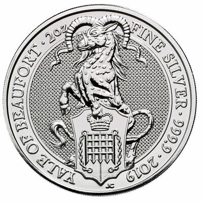 2019 Britain 2 oz Silver Queen's Beasts Yale of Beaufort £5 Coin GEM BU SKU57311