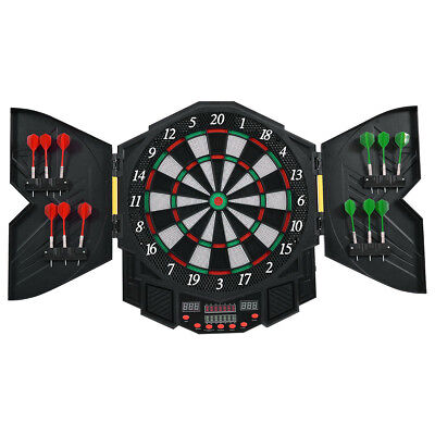 Professional Electronic Dartboard Cabinet Set w/ 12 Darts Game Room LED Display