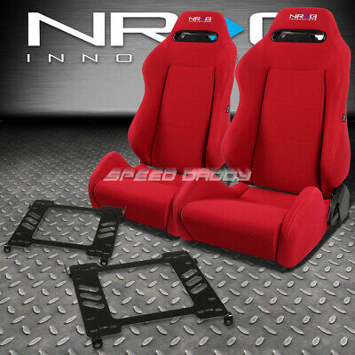 - NRG TYPE-R RED RECLINABLE RACING SEATS+BRACKET FOR 94-01 ACURA INTEGRA DB DC1/2