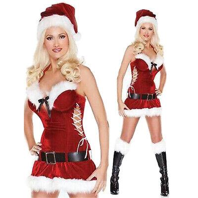 Woman Santa Costume (Halloween Women Christmas Santa Costume Cosplay Sexy Dress Eye Raising)
