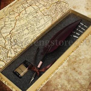 Vintage Swan Feather Quill Metal Nib Brown Dip Pen Writing Ink Set Case Burgundy