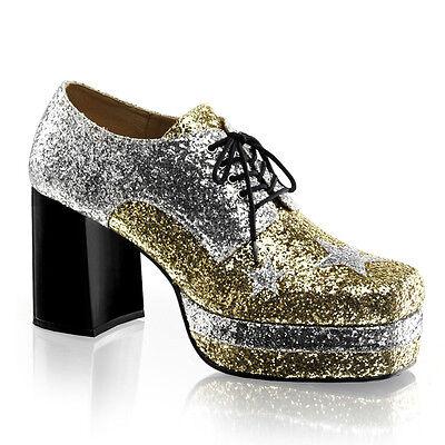 GLAM02/S-GG Men's 80's Glam Rocker Glitter Platform Disco Pimp Costume Shoes