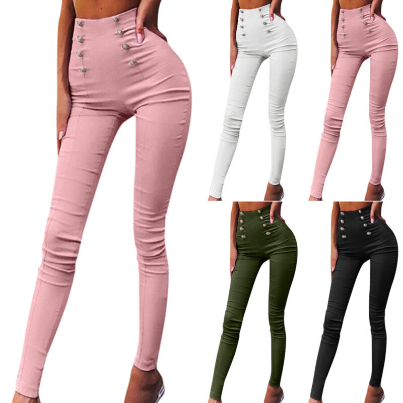 Women Ripped Skinny High Waisted Pencil Pants Jeans Jeggings Leggings Trousers Clothing, Shoes & Accessories