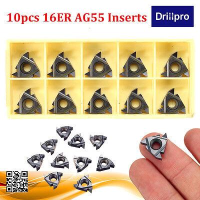 10pcs 16er Ag55 Carbide Threading Inserts For Steelstainless Steel Turning Tool