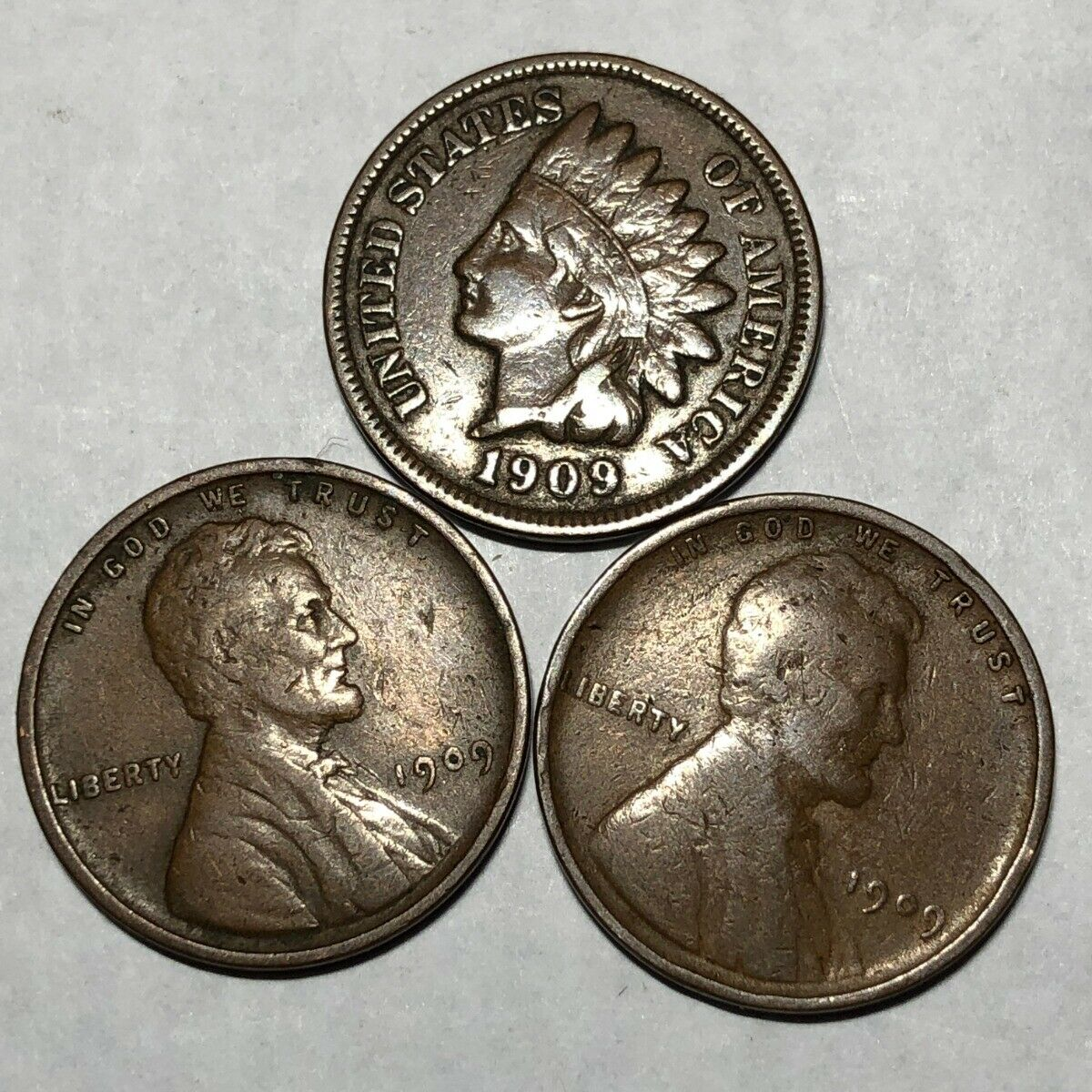 THREE FINE Cents 1909 Indian, 1909 Lincoln Wheat 1909-VDB Lincoln. k2 - $19.00