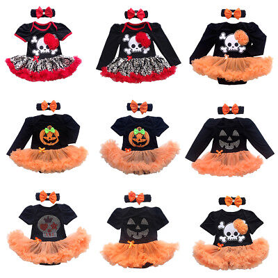 My 1st Halloween Newborn Baby Girl Romper Tutu Dress Headband Outfit - My 1st Halloween Baby Clothes