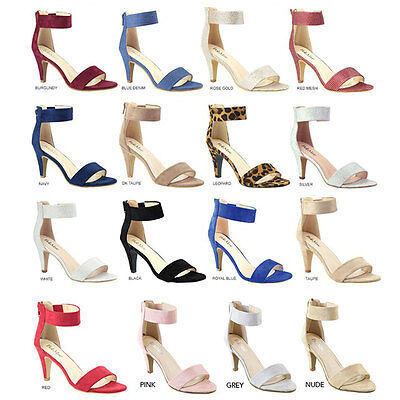 Women Classic Open Toe Pump Sandal Elastic Ankle Strap Med High Stiletto Heel US Pump Medium Heel Ankle Strap