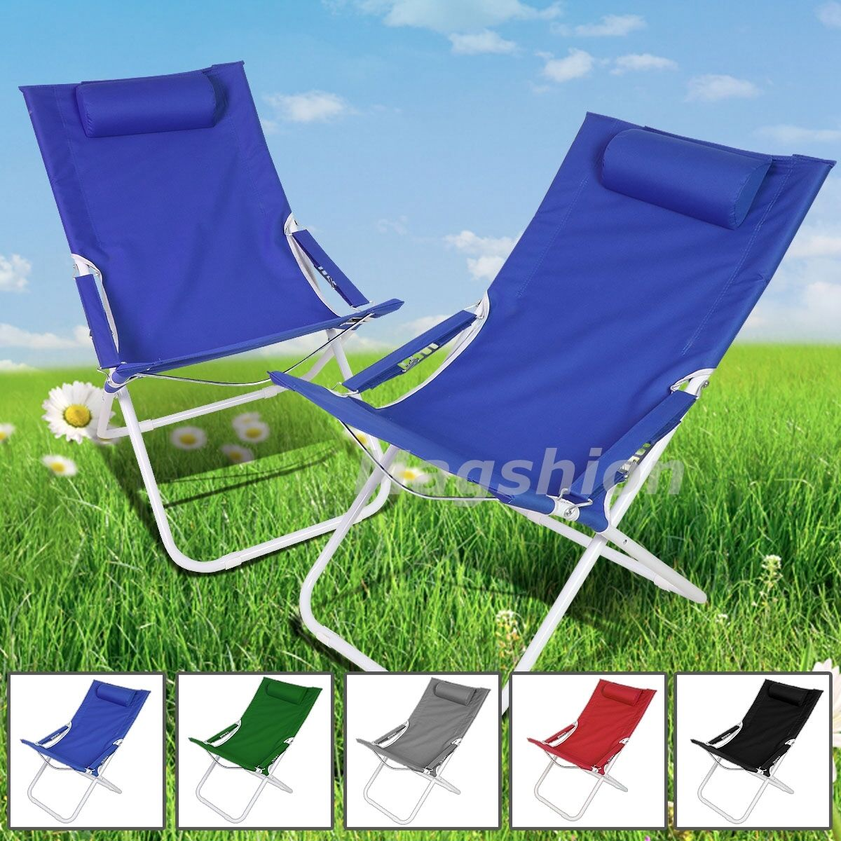 Blue Curved Chair Folding Lounge Reclining Patio Pool Beach