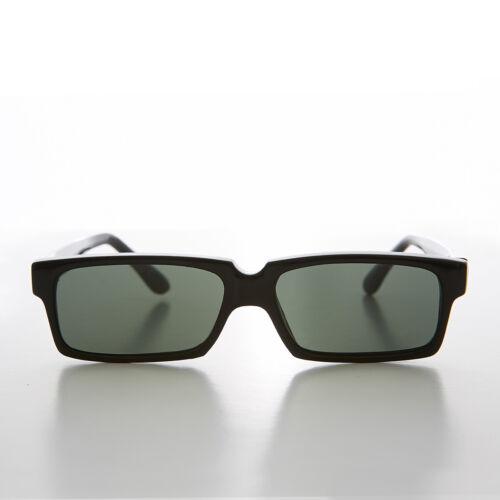 Black Flat Lens Slim Rectangular 90s Vintage Sunglass - Finney