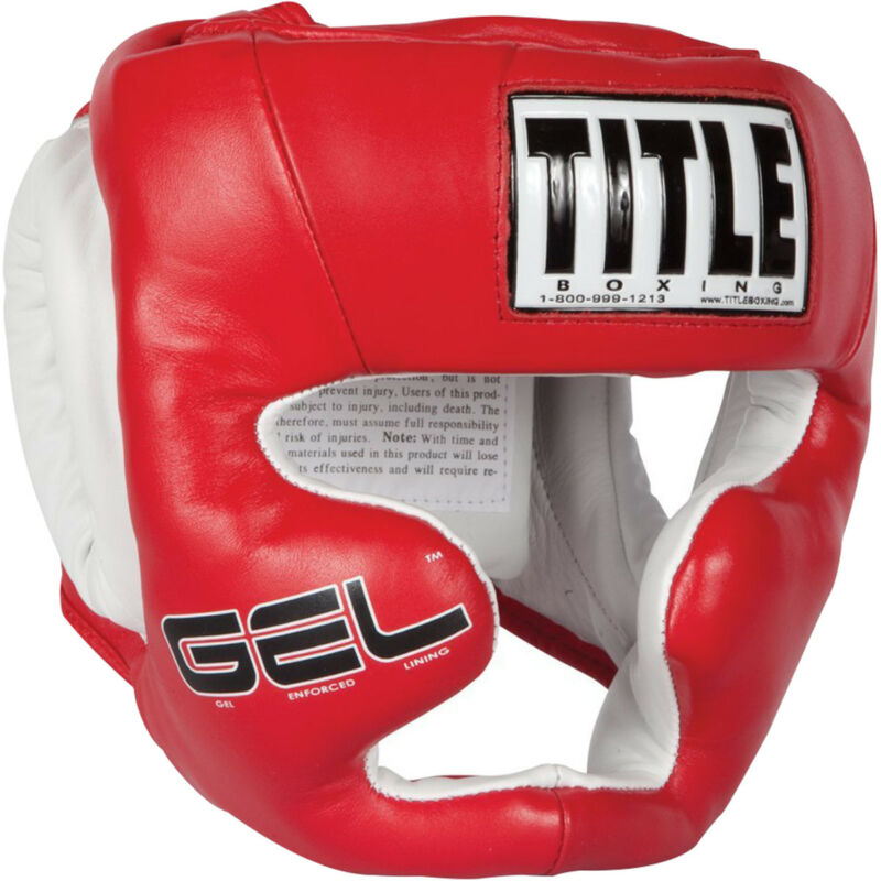 Title Boxing Gel World Full Face Training Headgear - Red