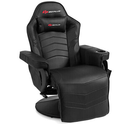 Massage Gaming Recliner Reclining Racing Chair Swivel w/Cup Holder &Pillow Black