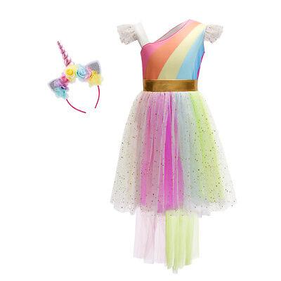 Unicorn Costume Kid Girl Rainbow Tutu Dress Headband Cosplay Halloween Outfits - Rainbow Girl Halloween Costume