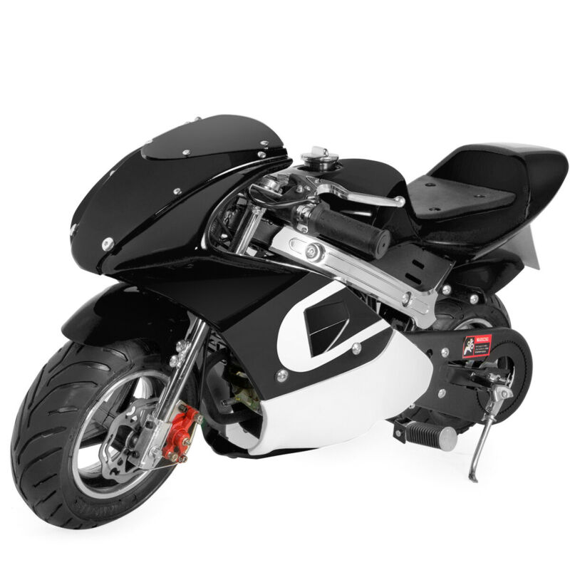 Kids Mini Ride On Motorcycle Gas Pocket Bike 4 Stroke 40CC Toy Black Boys Girls
