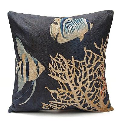 Ocean Cral Lumbar Sfa Cushin Cver Bedding Rm Decrative Thrw Pillw Home & Garden