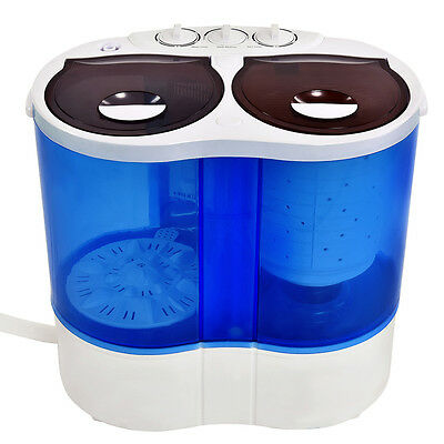 غسالة ملابس جديد Portable Mini Washing Machine Compact Twin Tub 7.7lb Washer Spin Dryer Furni New