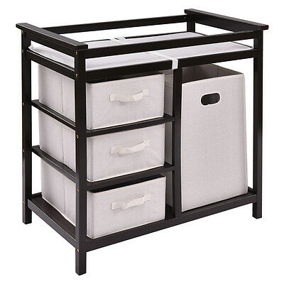 Espresso Infant Baby Changing Table w3 Basket Hamper Diaper Storage Nursery New