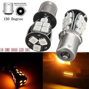 2X Car 12V 18 SMD LED 5050 581 BAU15S 1156 PY21W Bulbs Indicator Orange Amber