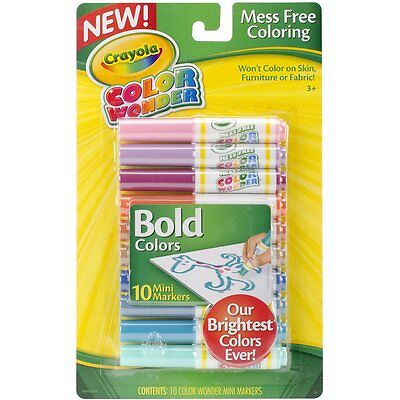 Crayola 75-0227 Bold Color Wonder Mini Markers, 10 ct. For Drawing & Painting
