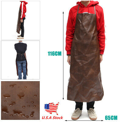Apron Leather Equipment Apron Waterproof Washable Heat Insulation Kitchen Brown
