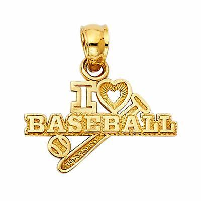 14K Solid Yellow Gold I Love BaseBall Pendant For Men Women BaseBall Pendant 14k Gold Love Pendant
