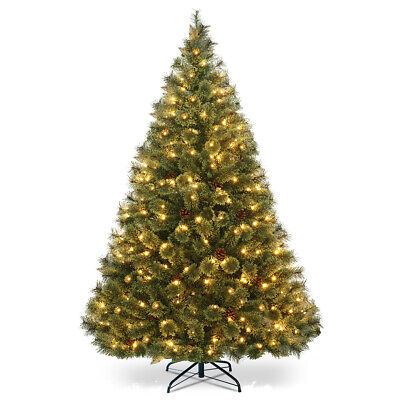 6 Ft Pine Tree Pre-Lit Hinged PVC Artificial Tree Flocked Cones w/ LED Lights