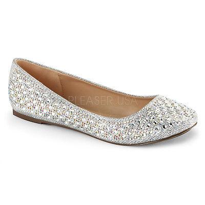 Silver Rhinestone Ballet Flats Vintage Wedding Low Heels Shoes size 8 9 10 11 12 ()